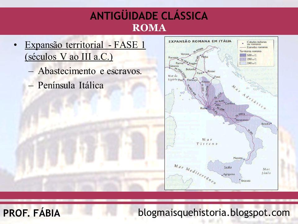 ANTIGÜIDADE CLÁSSICA blogmaisquehistoria.blogspot.comPROF. FÁBIA ROMA Expansão territorial - FASE 1 (séculos V ao III a.C.) –Abastecimento e escravos.