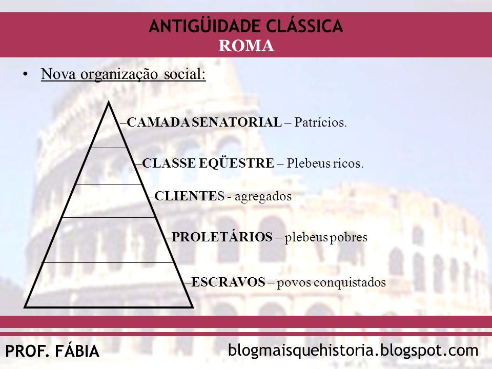 ANTIGÜIDADE CLÁSSICA blogmaisquehistoria.blogspot.comPROF. FÁBIA ROMA Nova organização social: –CAMADA SENATORIAL – Patrícios. –CLASSE EQÜESTRE – Pleb
