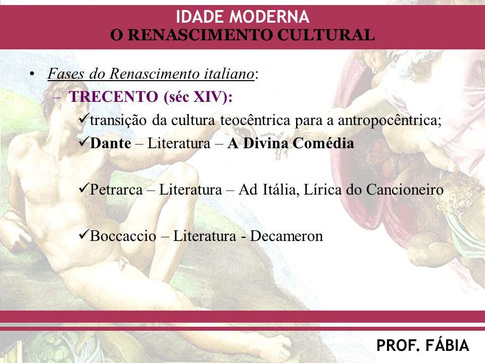 IDADE MODERNA PROF. FÁBIA O RENASCIMENTO CULTURAL Fases do Renascimento italiano: –TRECENTO (séc XIV): transição da cultura teocêntrica para a antropo