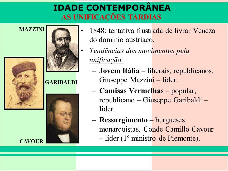 IDADE CONTEMPORÂNEA AS UNIFICAÇÕES TARDIAS 1848: tentativa frustrada de livrar Veneza do domínio austríaco. Tendências dos movimentos pela unificação: