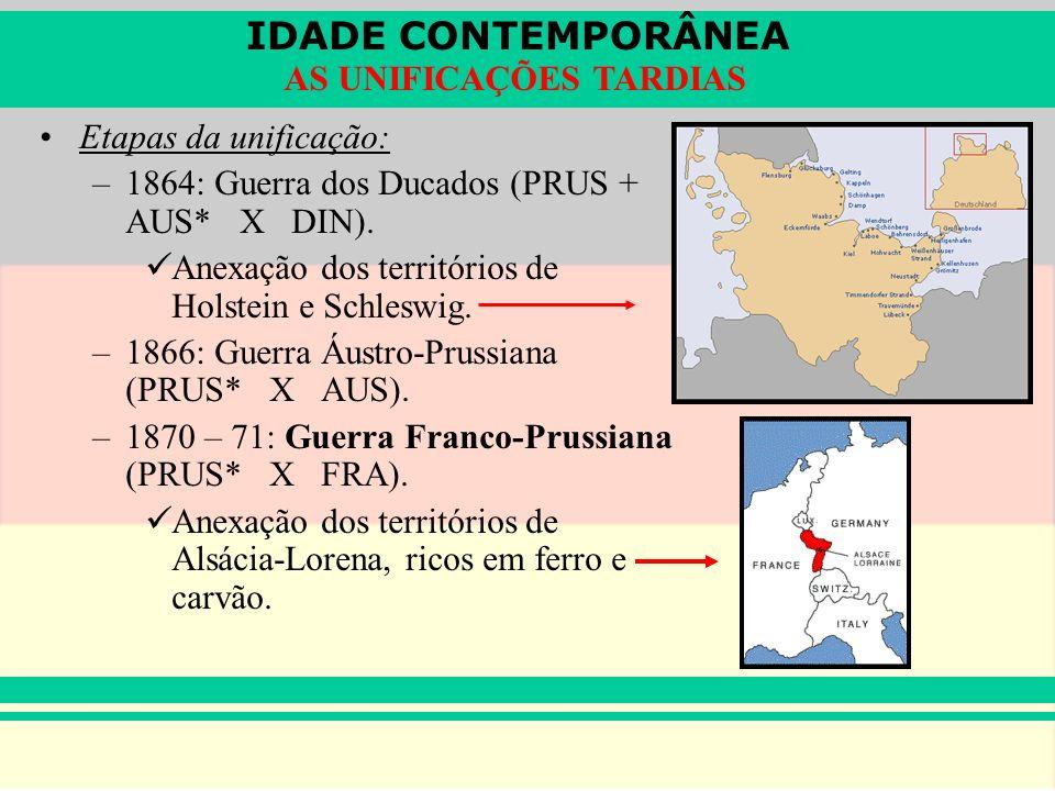 IDADE CONTEMPORÂNEA AS UNIFICAÇÕES TARDIAS Etapas da unificação: –1864: Guerra dos Ducados (PRUS + AUS* X DIN). Anexação dos territórios de Holstein e