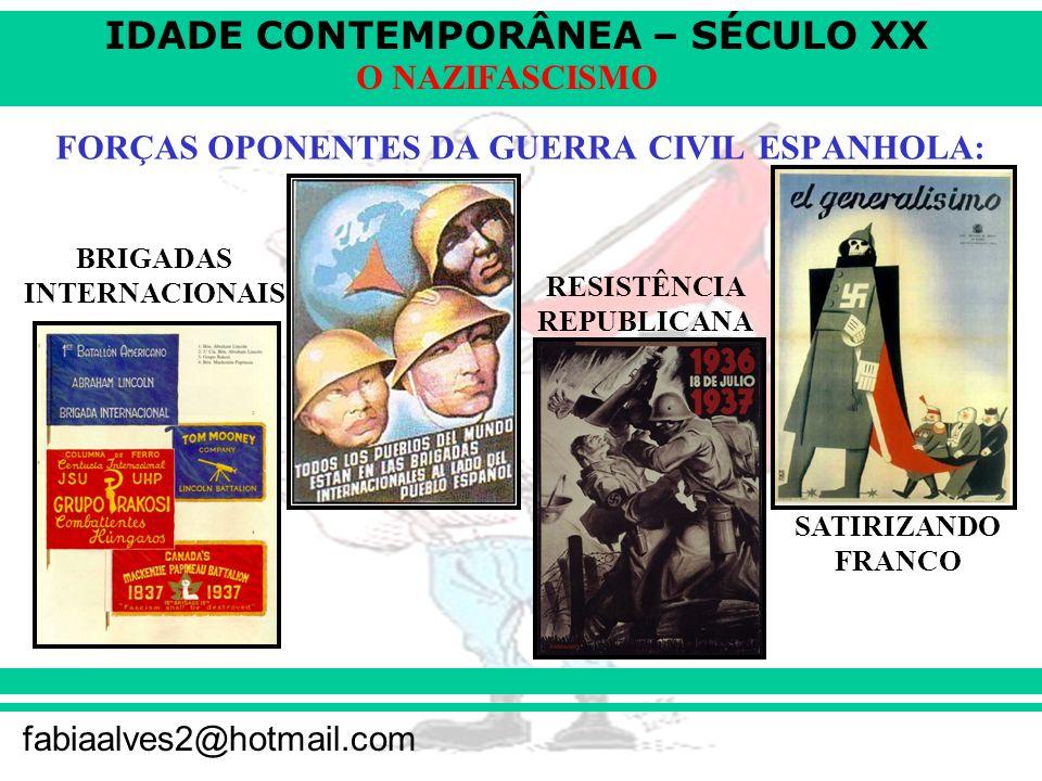 IDADE CONTEMPORÂNEA – SÉCULO XX fabiaalves2@hotmail.com O NAZIFASCISMO FORÇAS OPONENTES DA GUERRA CIVIL ESPANHOLA: BRIGADAS INTERNACIONAIS RESISTÊNCIA REPUBLICANA SATIRIZANDO FRANCO