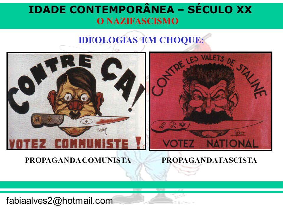 IDADE CONTEMPORÂNEA – SÉCULO XX fabiaalves2@hotmail.com O NAZIFASCISMO IDEOLOGIAS EM CHOQUE: PROPAGANDA COMUNISTAPROPAGANDA FASCISTA