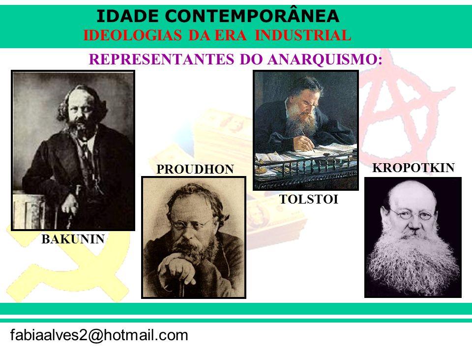 IDADE CONTEMPORÂNEA fabiaalves2@hotmail.com IDEOLOGIAS DA ERA INDUSTRIAL REPRESENTANTES DO ANARQUISMO: BAKUNIN PROUDHON TOLSTOI KROPOTKIN
