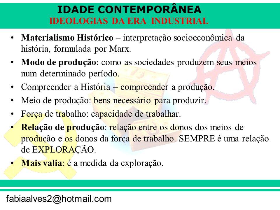 IDADE CONTEMPORÂNEA fabiaalves2@hotmail.com IDEOLOGIAS DA ERA INDUSTRIAL Materialismo Histórico – interpretação socioeconômica da história, formulada