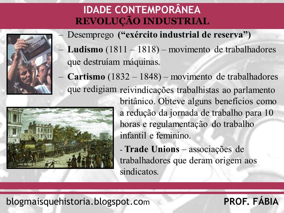 IDADE CONTEMPORÂNEA PROF. FÁBIAblogmaisquehistoria.blogspot.co m REVOLUÇÃO INDUSTRIAL –Desemprego (exército industrial de reserva) –Ludismo (1811 – 18