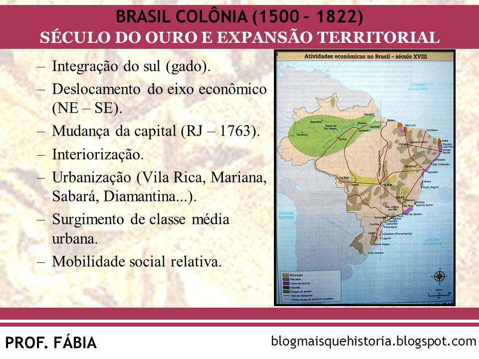 BRASIL COLÔNIA (1500 – 1822) SÉCULO DO OURO E EXPANSÃO TERRITORIAL PROF. FÁBIA blogmaisquehistoria.blogspot.com –Integração do sul (gado). –Deslocamen