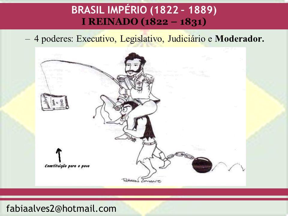BRASIL IMPÉRIO (1822 – 1889) fabiaalves2@hotmail.com I REINADO (1822 – 1831) –Voto censitário e indireto.