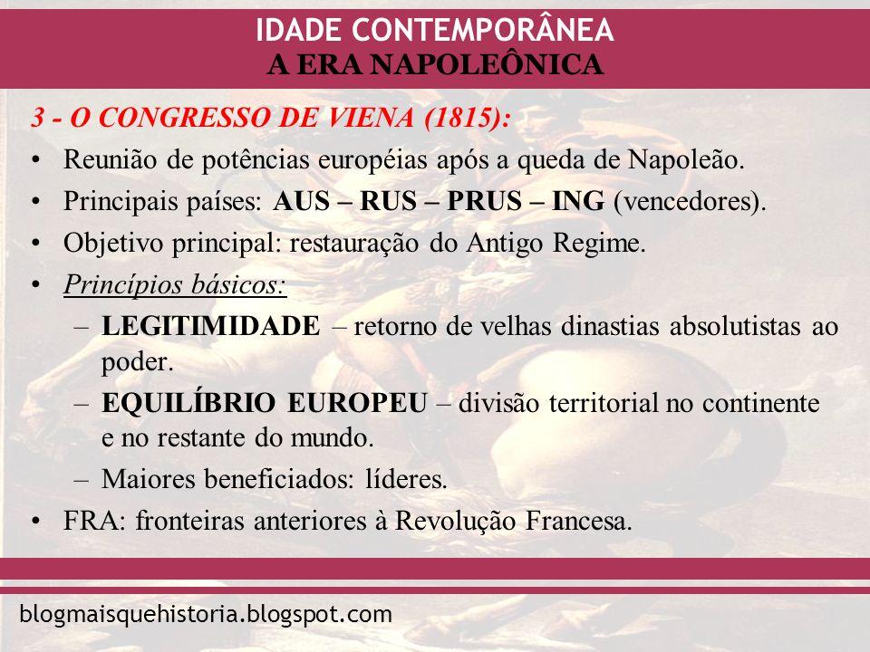 IDADE CONTEMPORÂNEA blogmaisquehistoria.blogspot.com A ERA NAPOLEÔNICA 3 - O CONGRESSO DE VIENA (1815): Reunião de potências européias após a queda de