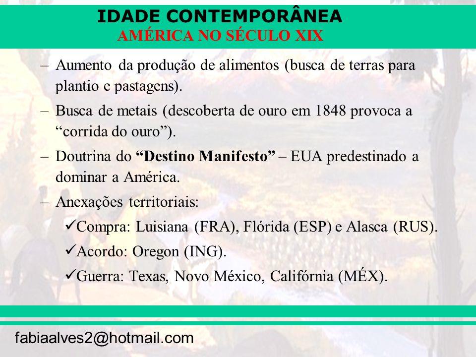 IDADE CONTEMPORÂNEA fabiaalves2@hotmail.com AMÉRICA NO SÉCULO XIX –Aumento da produção de alimentos (busca de terras para plantio e pastagens). –Busca