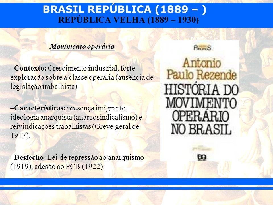 BRASIL REPÚBLICA (1889 – ) REPÚBLICA VELHA (1889 – 1930) Movimento operário –Contexto: Crescimento industrial, forte exploração sobre a classe operári