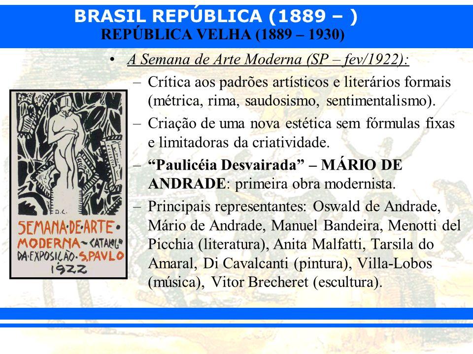 BRASIL REPÚBLICA (1889 – ) REPÚBLICA VELHA (1889 – 1930) O Tenentismo: –Movimento da baixa oficialidade do exército (tenentes e capitães).
