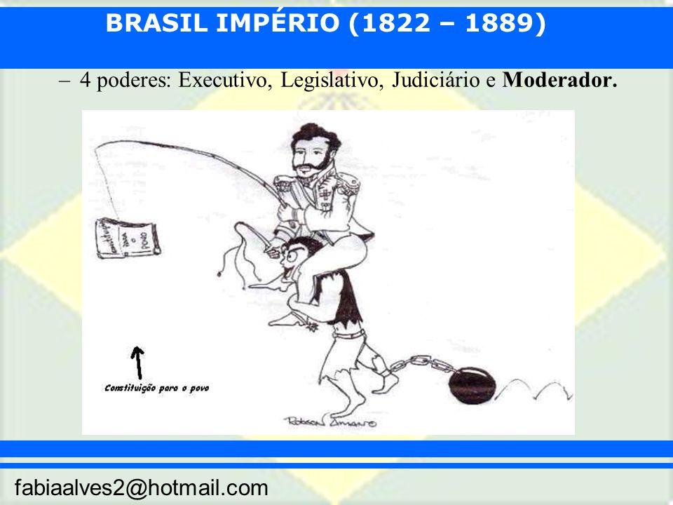 BRASIL IMPÉRIO (1822 – 1889) fabiaalves2@hotmail.com –4 poderes: Executivo, Legislativo, Judiciário e Moderador.