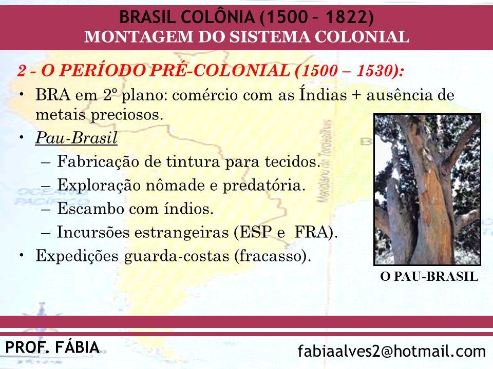 BRASIL COLÔNIA (1500 – 1822) PROF. FÁBIA fabiaalves2@hotmail.com MONTAGEM DO SISTEMA COLONIAL 2 - O PERÍODO PRÉ-COLONIAL (1500 – 1530): BRA em 2º plan