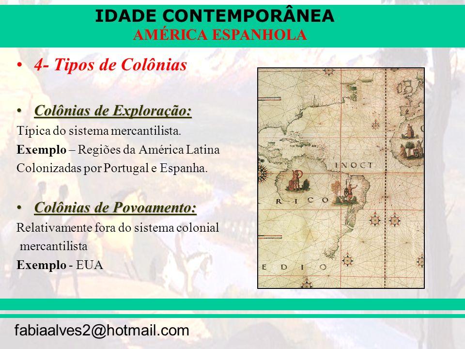 IDADE CONTEMPORÂNEA fabiaalves2@hotmail.com AMÉRICA ESPANHOLA 4- Tipos de Colônias Colônias de Exploração:Colônias de Exploração: Típica do sistema me