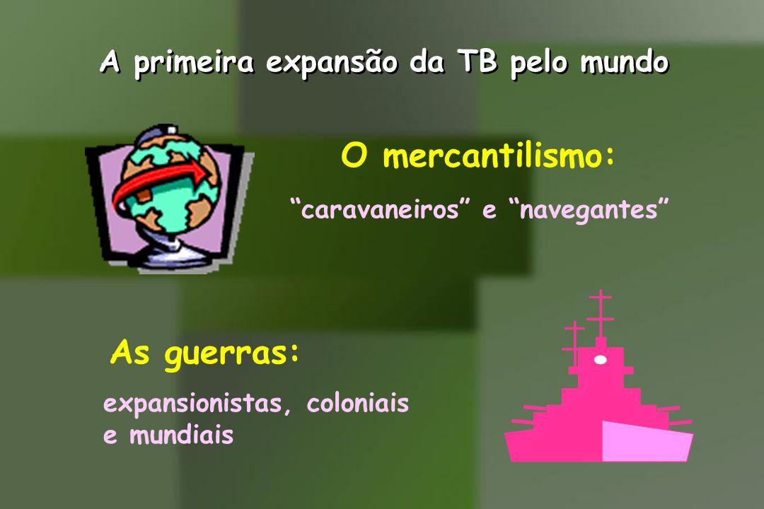 A primeira expansão da TB pelo mundo O mercantilismo: caravaneiros e navegantes As guerras: expansionistas, coloniais e mundiais