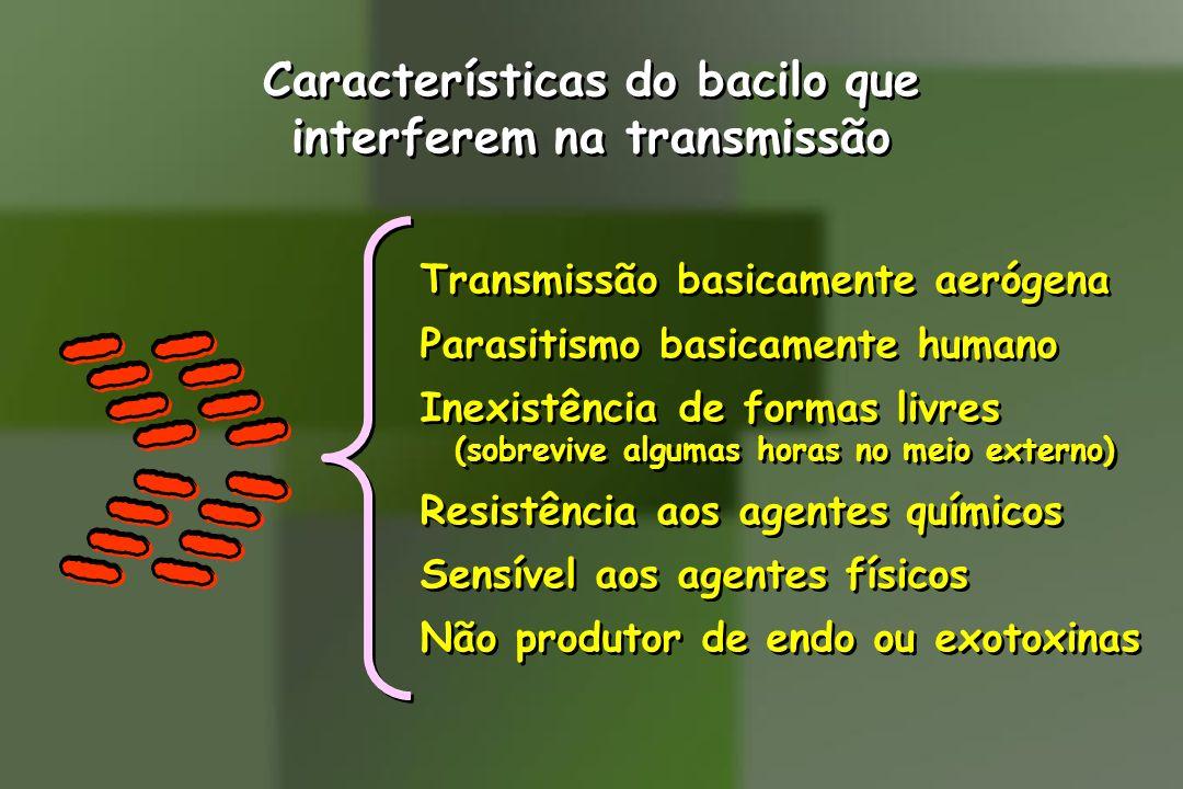 Características do bacilo que interferem na transmissão Características do bacilo que interferem na transmissão Transmissão basicamente aerógena Paras