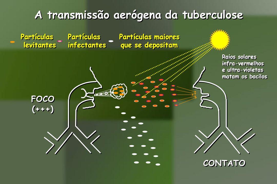 A transmissão aerógena da tuberculose FOCO (+++) FOCO (+++) CONTATO Partículas levitantes Partículas levitantes Partículas infectantes Partículas infe