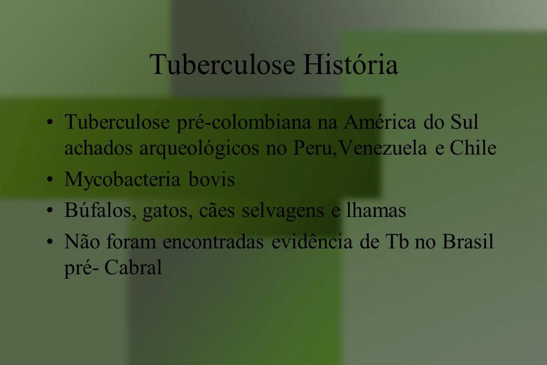 Tuberculose História Tuberculose pré-colombiana na América do Sul achados arqueológicos no Peru,Venezuela e Chile Mycobacteria bovis Búfalos, gatos, c