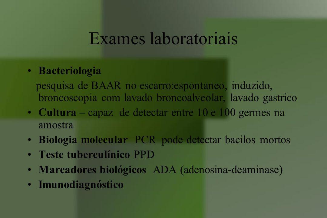 Exames laboratoriais Bacteriologia pesquisa de BAAR no escarro:espontaneo, induzido, broncoscopia com lavado broncoalveolar, lavado gastrico Cultura –