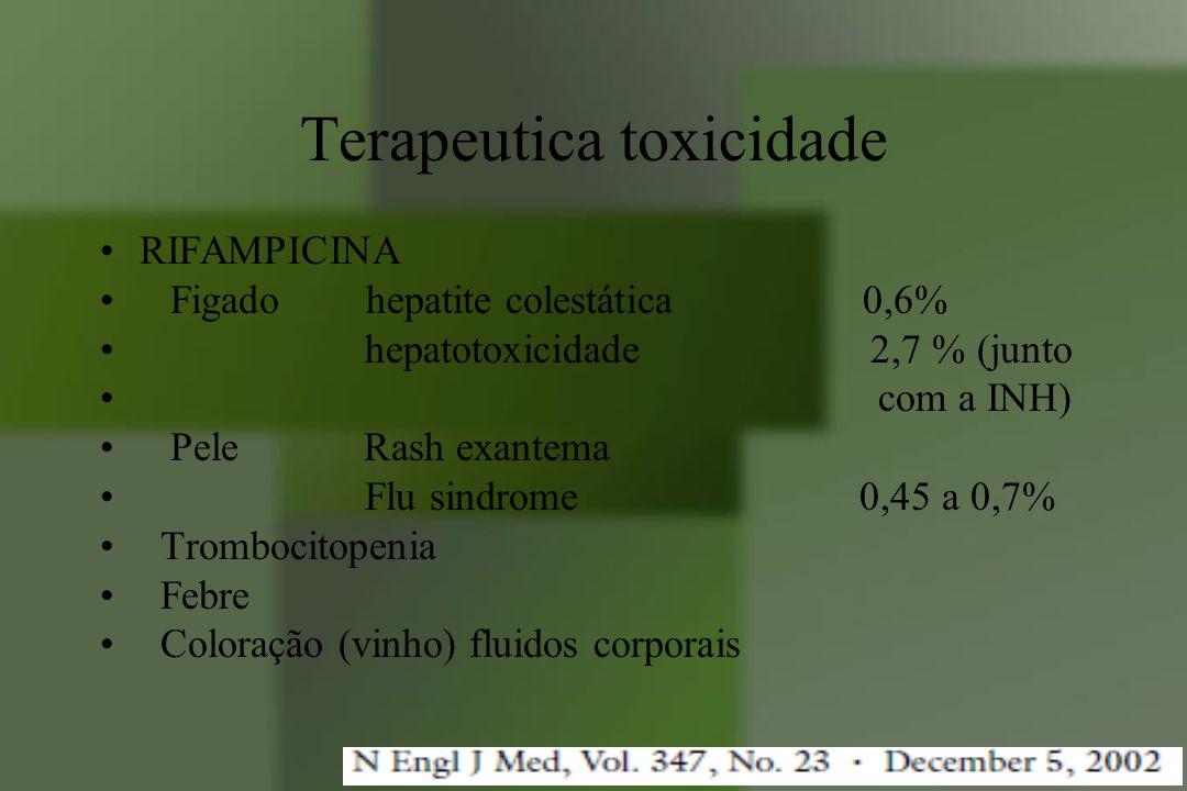 Terapeutica toxicidade RIFAMPICINA Figado hepatite colestática 0,6% hepatotoxicidade 2,7 % (junto com a INH) Pele Rash exantema Flu sindrome 0,45 a 0,
