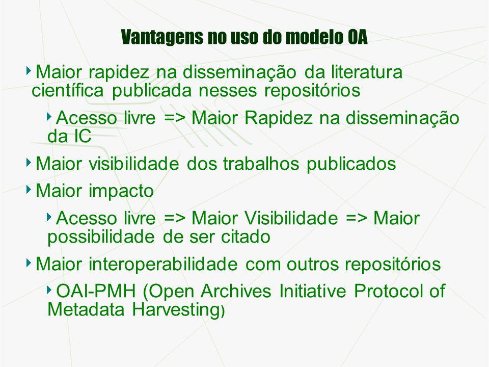 Vantagens no uso do modelo OA Maior rapidez na disseminação da literatura científica publicada nesses repositórios Acesso livre => Maior Rapidez na di