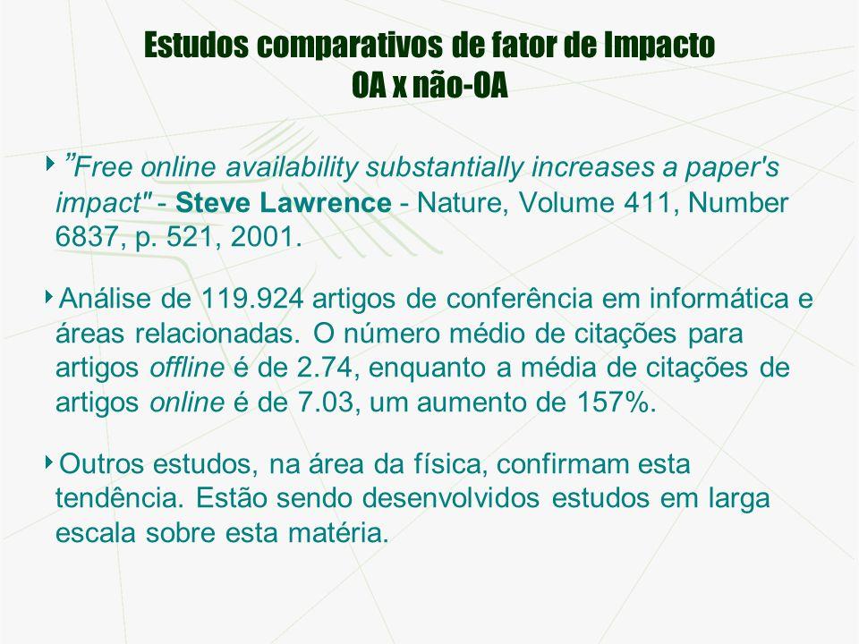 Estudos comparativos de fator de Impacto OA x não-OA Free online availability substantially increases a paper s impact - Steve Lawrence - Nature, Volume 411, Number 6837, p.