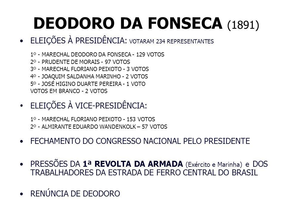 DEODORO DA FONSECA (1891) ELEIÇÕES À PRESIDÊNCIA: VOTARAM 234 REPRESENTANTES 1º - MARECHAL DEODORO DA FONSECA - 129 VOTOS 2º - PRUDENTE DE MORAIS - 97