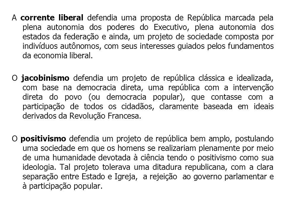 A corrente liberal defendia uma proposta de República marcada pela plena autonomia dos poderes do Executivo, plena autonomia dos estados da federação