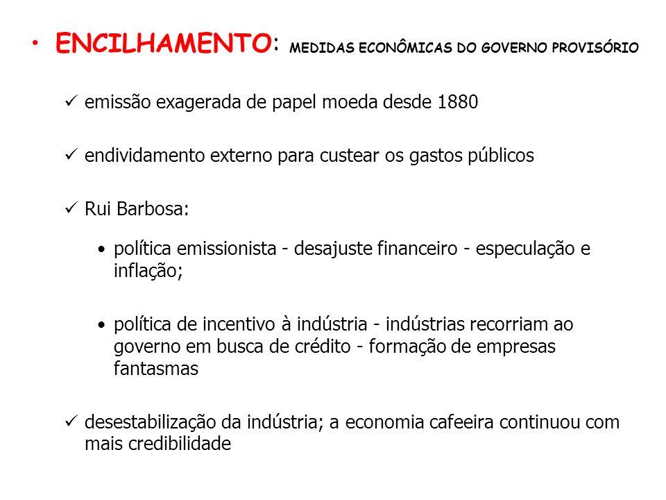 ENCILHAMENTO: MEDIDAS ECONÔMICAS DO GOVERNO PROVISÓRIO emissão exagerada de papel moeda desde 1880 endividamento externo para custear os gastos públic
