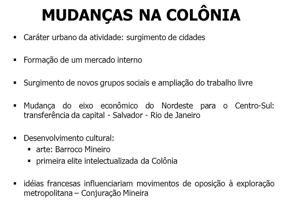 MUDANÇAS NA COLÔNIA Caráter urbano da atividade: surgimento de cidades Formação de um mercado interno Surgimento de novos grupos sociais e ampliação d