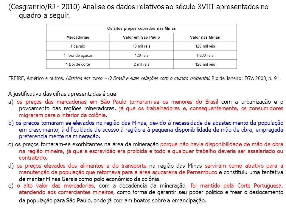 (Cesgranrio/RJ - 2010) Analise os dados relativos ao século XVIII apresentados no quadro a seguir. FREIRE, Américo e outros. História em curso – O Bra