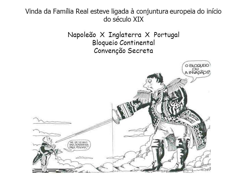 Vinda da Família Real esteve ligada à conjuntura europeia do início do século XIX Napoleão X Inglaterra X Portugal Bloqueio Continental Convenção Secr