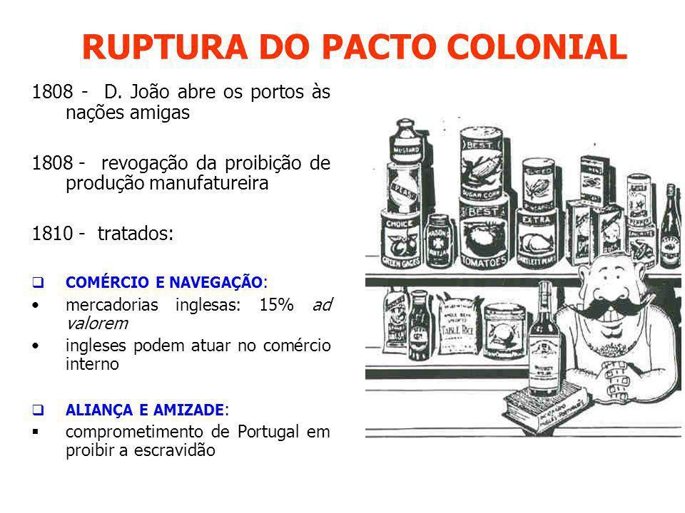 RUPTURA DO PACTO COLONIAL 1808 - D. João abre os portos às nações amigas 1808 - revogação da proibição de produção manufatureira 1810 - tratados: COMÉ