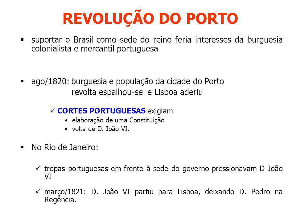 REVOLUÇÃO DO PORTO suportar o Brasil como sede do reino feria interesses da burguesia colonialista e mercantil portuguesa ago/1820: burguesia e popula