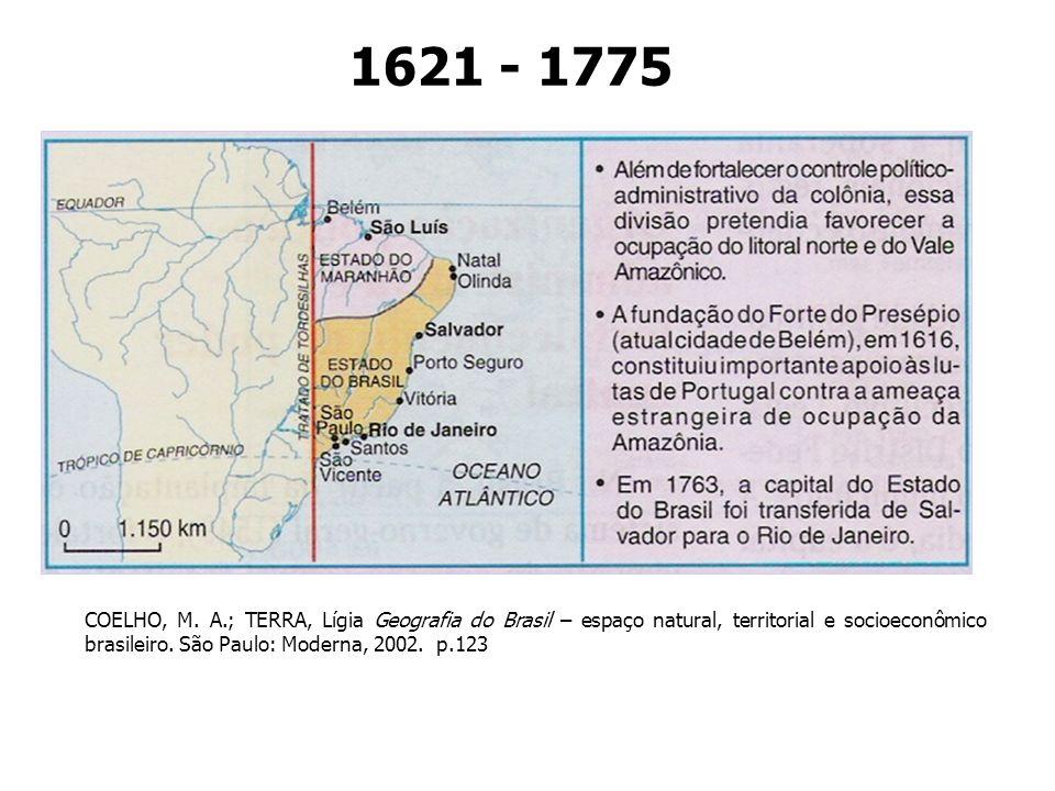 1621 - 1775 COELHO, M. A.; TERRA, Lígia Geografia do Brasil – espaço natural, territorial e socioeconômico brasileiro. São Paulo: Moderna, 2002. p.123