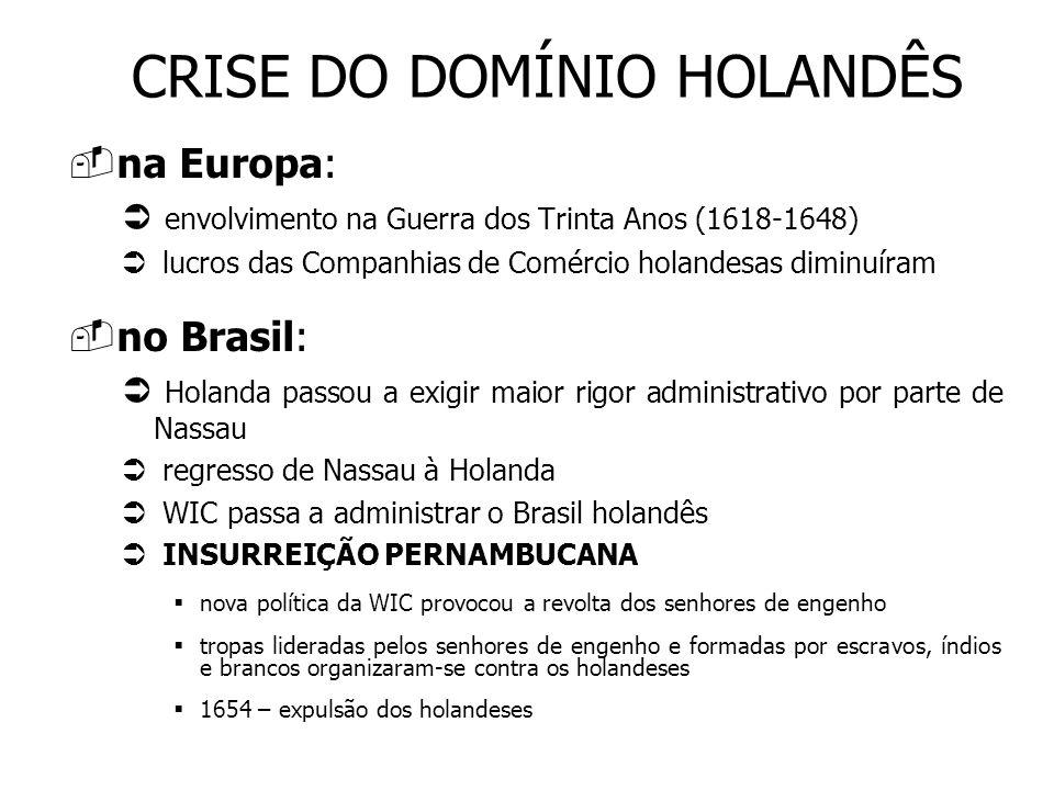 CRISE DO DOMÍNIO HOLANDÊS na Europa: envolvimento na Guerra dos Trinta Anos (1618-1648) lucros das Companhias de Comércio holandesas diminuíram no Bra
