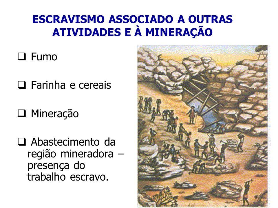 ESCRAVISMO ASSOCIADO A OUTRAS ATIVIDADES E À MINERAÇÃO Fumo Farinha e cereais Mineração Abastecimento da região mineradora – presença do trabalho escr