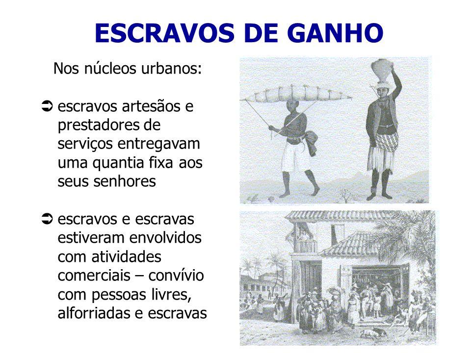Nos núcleos urbanos: escravos artesãos e prestadores de serviços entregavam uma quantia fixa aos seus senhores escravos e escravas estiveram envolvido