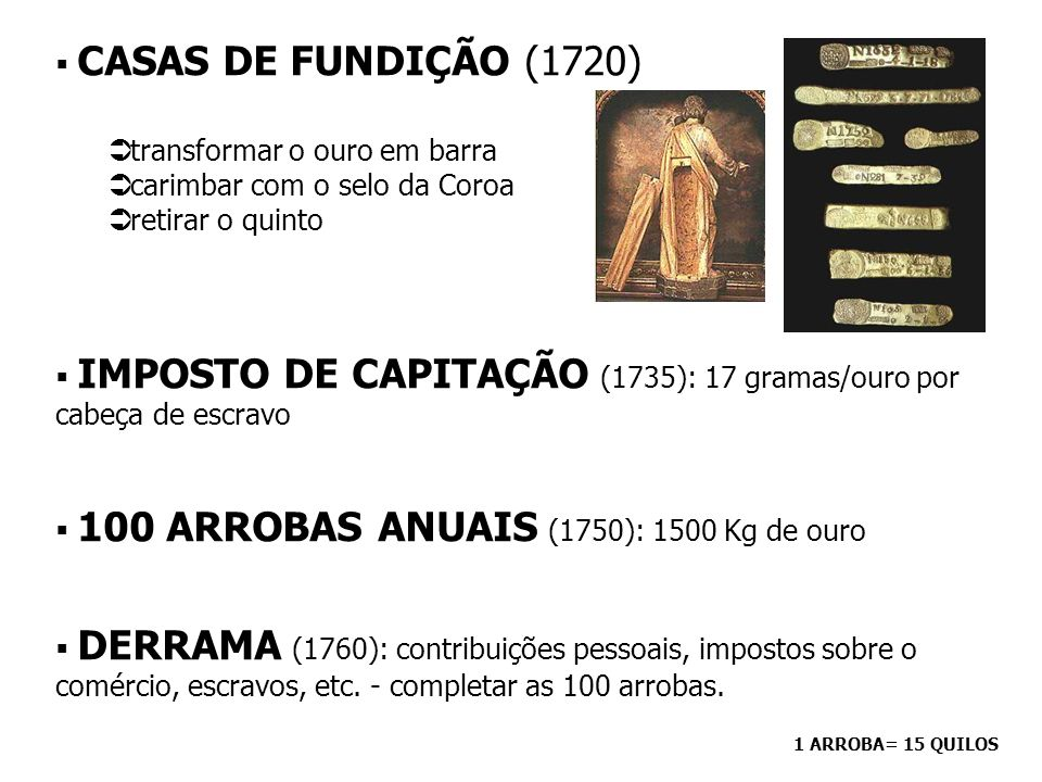 CONTROLE METROPOLITANO - SISTEMA FISCAL NA REGIÃO MINERADORA - INTENDÊNCIAS DAS MINAS (1702) controlar e fiscalizar a distribuição das datas divisão em datas/lotes - tamanho dependia do número de escravos que o minerador possuísse: até 11 escravos: 2,5 braças de terras 12 ou mais escravos: 30 braças 1 a data: ao descobridor 2 a data: à Coroa todas as outras: sorteio controlar a produção nas datas cobrar o quinto: 20% de todo o ouro encontrado/declarado 1 braça= 2,2 m 1 braça ² = 4,84 m²