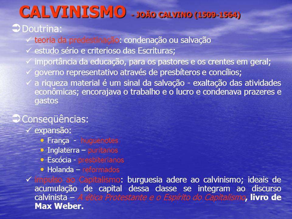 CALVINISMO - JOÃO CALVINO (1509-1564) Doutrina: teoria da predestinação: condenação ou salvação estudo sério e criterioso das Escrituras; importância