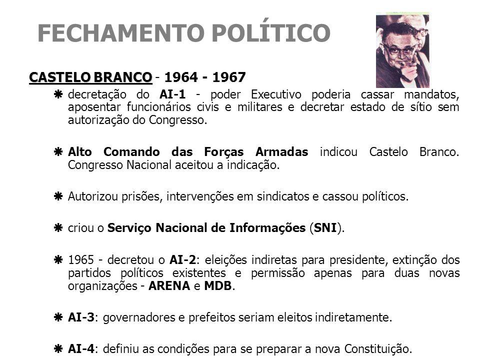 FECHAMENTO POLÍTICO CASTELO BRANCO CASTELO BRANCO - 1964 - 1967 decretação do AI-1 - poder Executivo poderia cassar mandatos, aposentar funcionários c