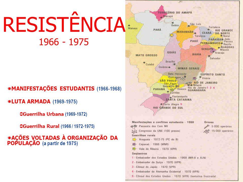 RESISTÊNCIA 1966 - 1975 MANIFESTAÇÕES ESTUDANTIS (1966-1968) LUTA ARMADA (1969-1975) Guerrilha Urbana (1969-1972) Guerrilha Rural (1966 / 1972-1975) A