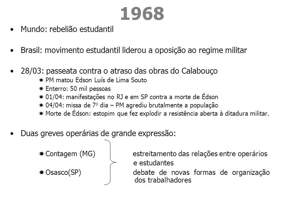 1968 Mundo: rebelião estudantil Brasil: movimento estudantil liderou a oposição ao regime militar 28/03: passeata contra o atraso das obras do Calabou