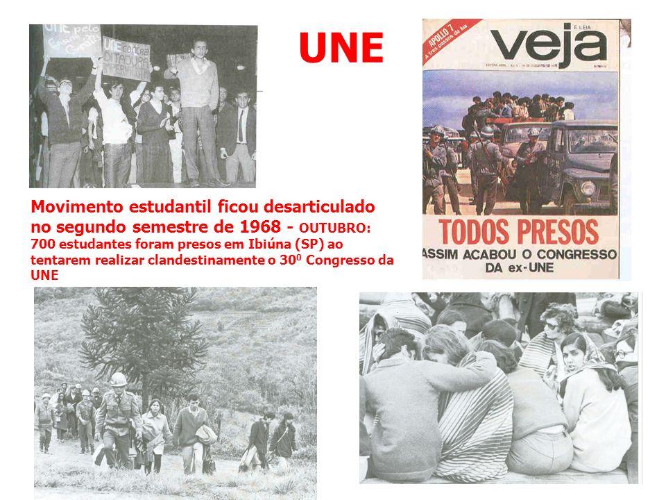 UNE Movimento estudantil ficou desarticulado no segundo semestre de 1968 - OUTUBRO: 700 estudantes foram presos em Ibiúna (SP) ao tentarem realizar cl