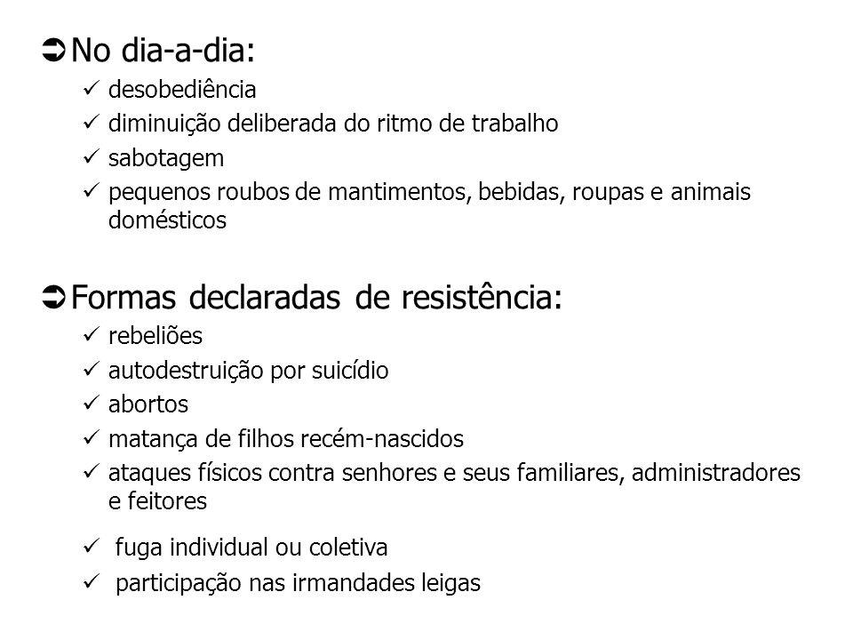 No dia-a-dia: desobediência diminuição deliberada do ritmo de trabalho sabotagem pequenos roubos de mantimentos, bebidas, roupas e animais domésticos