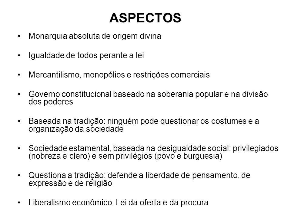 ASPECTOS Monarquia absoluta de origem divina Igualdade de todos perante a lei Mercantilismo, monopólios e restrições comerciais Governo constitucional