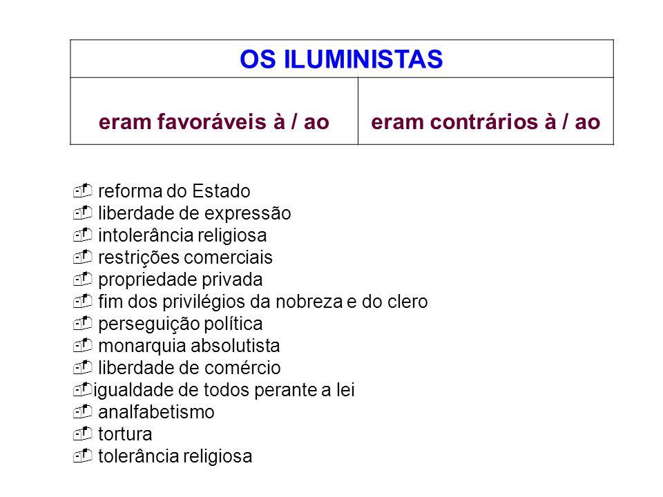 OS ILUMINISTAS eram favoráveis à / aoeram contrários à / ao reforma do Estado liberdade de expressão intolerância religiosa restrições comerciais prop