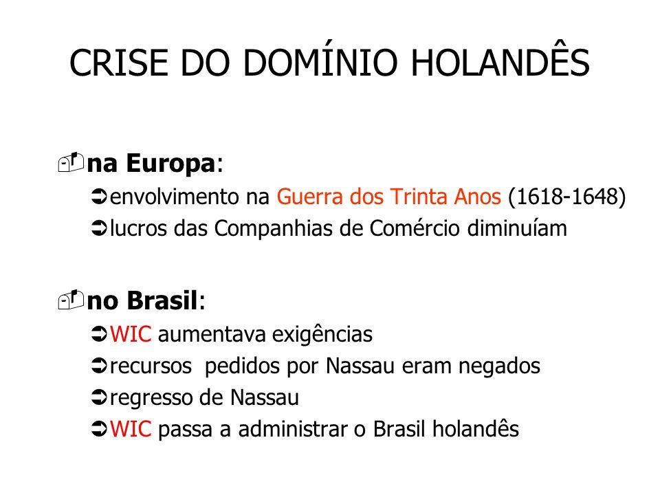 CRISE DO DOMÍNIO HOLANDÊS na Europa: envolvimento na Guerra dos Trinta Anos (1618-1648) lucros das Companhias de Comércio diminuíam no Brasil: WIC aum