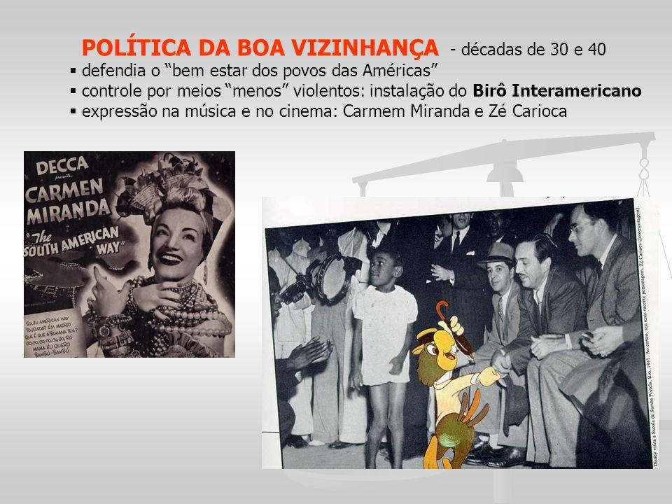 POLÍTICA DA BOA VIZINHANÇA - décadas de 30 e 40 defendia o bem estar dos povos das Américas controle por meios menos violentos: instalação do Birô Int